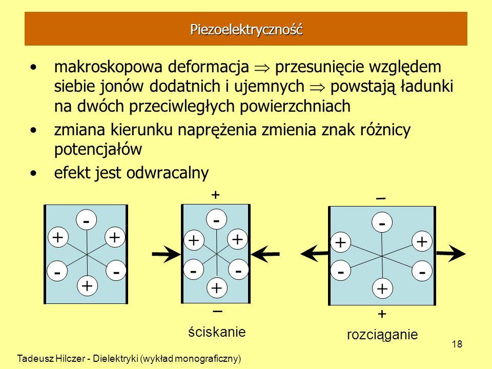 Tadeusz Hilczer - Dielektryki (wykład monograficzny) 18 makroskopowa deformacja przesunięcie względem siebie jonów dodatnich i ujemnych powstają ładun