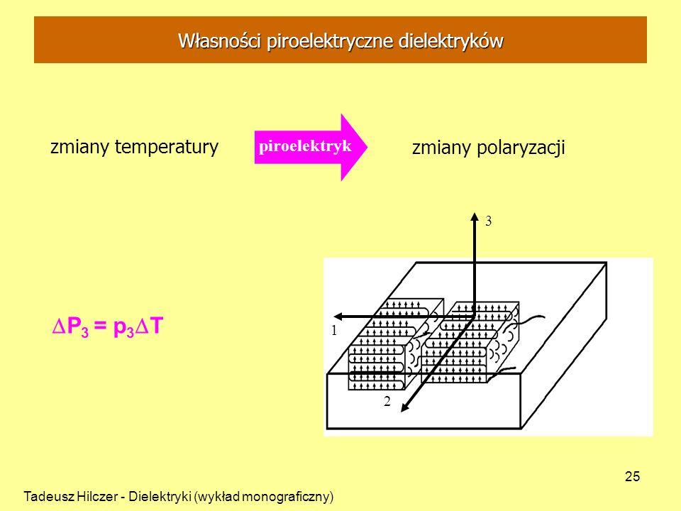 Tadeusz Hilczer - Dielektryki (wykład monograficzny) 25 zmiany temperatury zmiany polaryzacji 3 1 2 piroelektryk P 3 = p 3 T Własności piroelektryczne