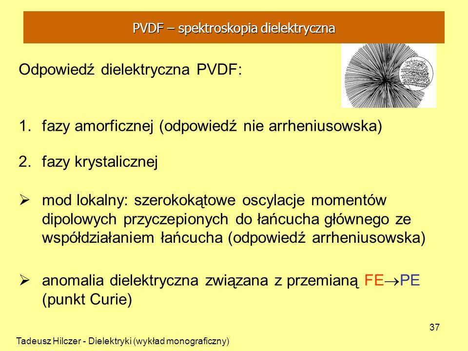 Tadeusz Hilczer - Dielektryki (wykład monograficzny) 37 2.fazy krystalicznej Odpowiedź dielektryczna PVDF: 1.fazy amorficznej (odpowiedź nie arrhenius