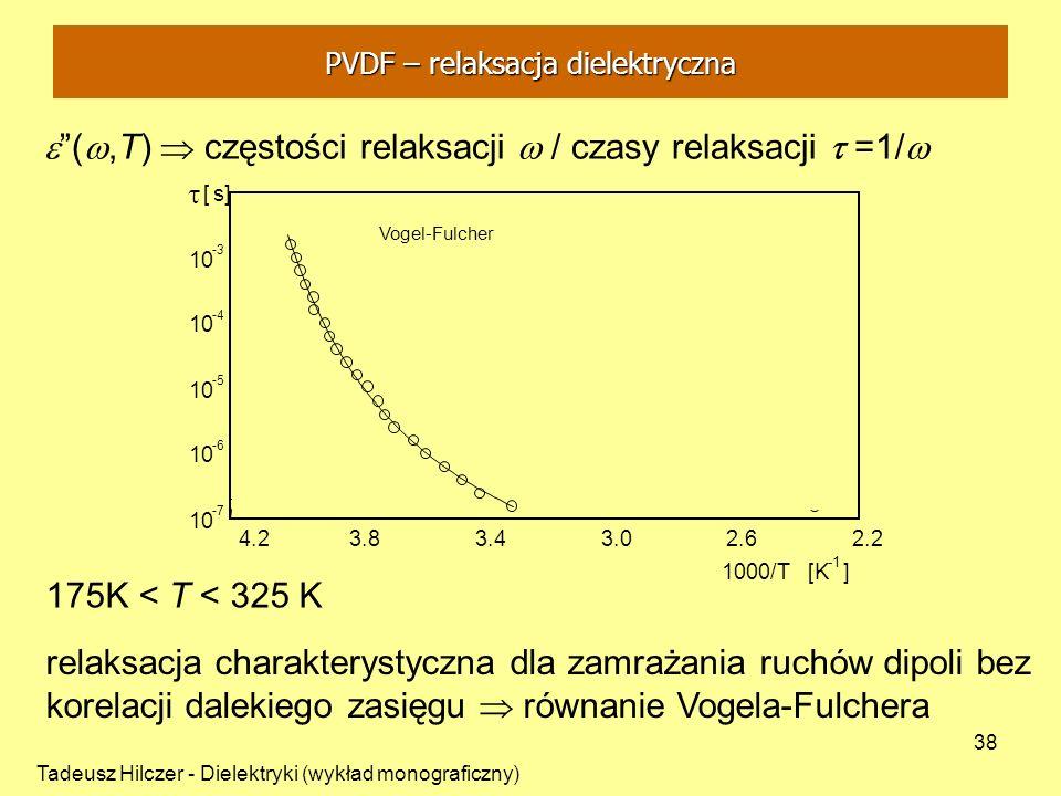 Tadeusz Hilczer - Dielektryki (wykład monograficzny) 38 (,T) częstości relaksacji / czasy relaksacji =1/ 175K < T < 325 K relaksacja charakterystyczna