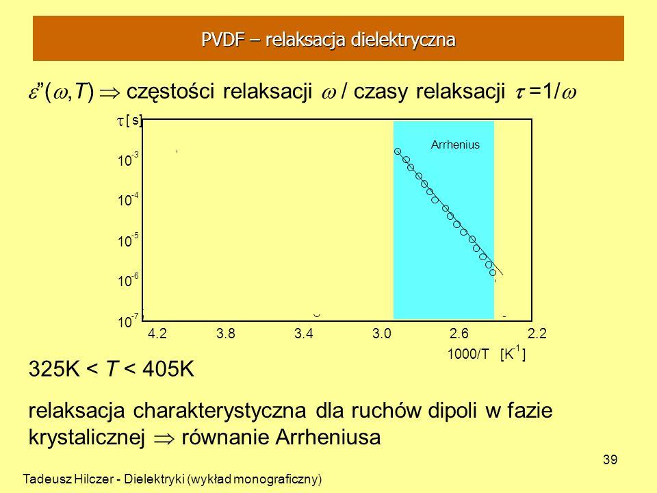 Tadeusz Hilczer - Dielektryki (wykład monograficzny) 39 325K < T < 405K relaksacja charakterystyczna dla ruchów dipoli w fazie krystalicznej równanie