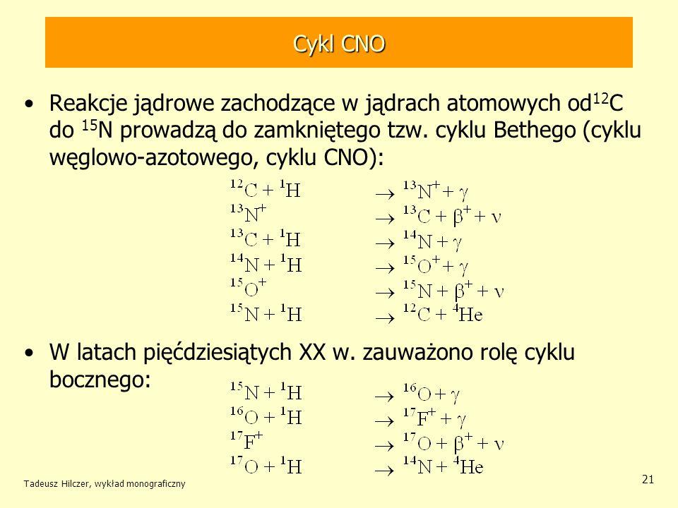 Cykl CNO Reakcje jądrowe zachodzące w jądrach atomowych od 12 C do 15 N prowadzą do zamkniętego tzw. cyklu Bethego (cyklu węglowo-azotowego, cyklu CNO
