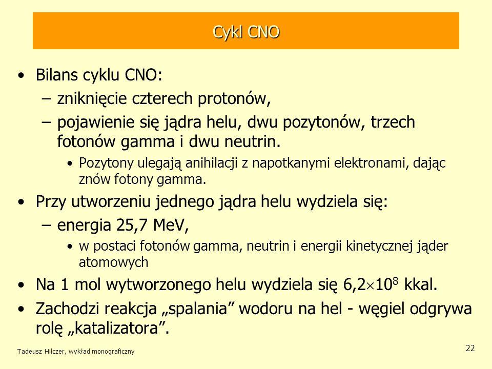 Cykl CNO Bilans cyklu CNO: –zniknięcie czterech protonów, –pojawienie się jądra helu, dwu pozytonów, trzech fotonów gamma i dwu neutrin. Pozytony uleg