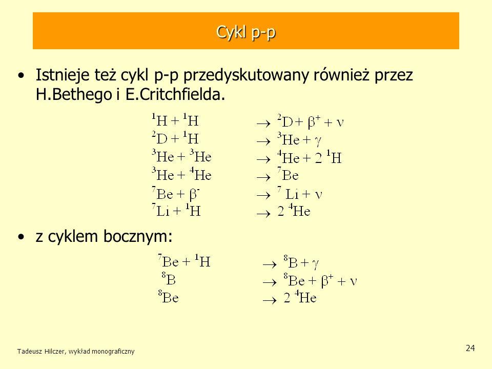 Cykl p-p Istnieje też cykl p-p przedyskutowany również przez H.Bethego i E.Critchfielda. z cyklem bocznym: Tadeusz Hilczer, wykład monograficzny 24