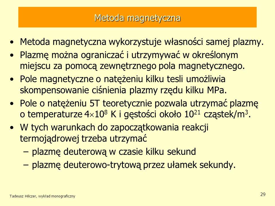 Metoda magnetyczna Metoda magnetyczna wykorzystuje własności samej plazmy. Plazmę można ograniczać i utrzymywać w określonym miejscu za pomocą zewnętr