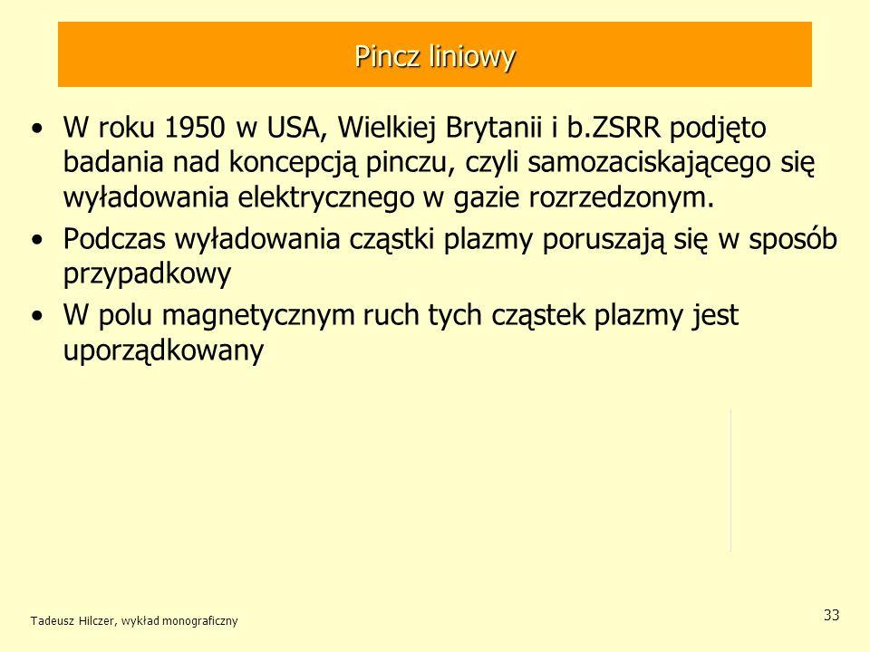 Pincz liniowy W roku 1950 w USA, Wielkiej Brytanii i b.ZSRR podjęto badania nad koncepcją pinczu, czyli samozaciskającego się wyładowania elektryczneg