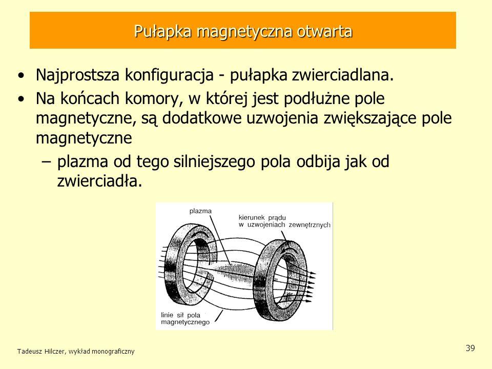 Pułapka magnetyczna otwarta Najprostsza konfiguracja - pułapka zwierciadlana. Na końcach komory, w której jest podłużne pole magnetyczne, są dodatkowe