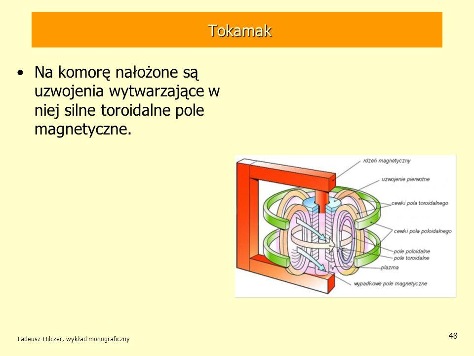 Tokamak Tokamak Na komorę nałożone są uzwojenia wytwarzające w niej silne toroidalne pole magnetyczne. Tadeusz Hilczer, wykład monograficzny 48