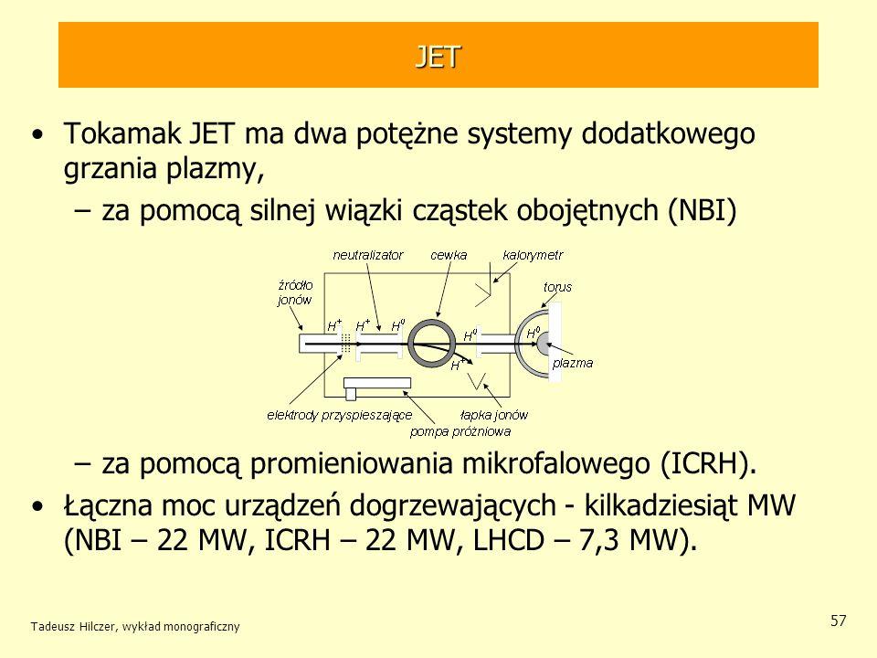 JET Tokamak JET ma dwa potężne systemy dodatkowego grzania plazmy, –za pomocą silnej wiązki cząstek obojętnych (NBI) –za pomocą promieniowania mikrofa