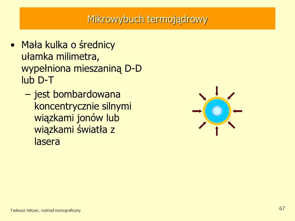 Mikrowybuch termojądrowy Mała kulka o średnicy ułamka milimetra, wypełniona mieszaniną D-D lub D-T –jest bombardowana koncentrycznie silnymi wiązkami