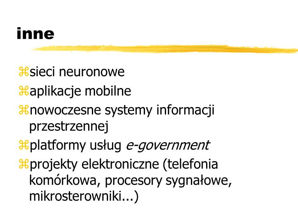 inne zsieci neuronowe zaplikacje mobilne znowoczesne systemy informacji przestrzennej zplatformy usług e-government zprojekty elektroniczne (telefonia