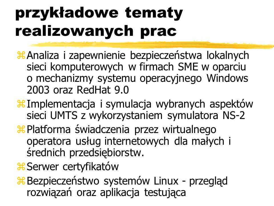 przykładowe tematy realizowanych prac zAnaliza i zapewnienie bezpieczeństwa lokalnych sieci komputerowych w firmach SME w oparciu o mechanizmy systemu