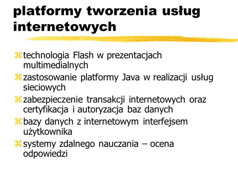 platformy tworzenia usług internetowych ztechnologia Flash w prezentacjach multimedialnych zzastosowanie platformy Java w realizacji usług sieciowych