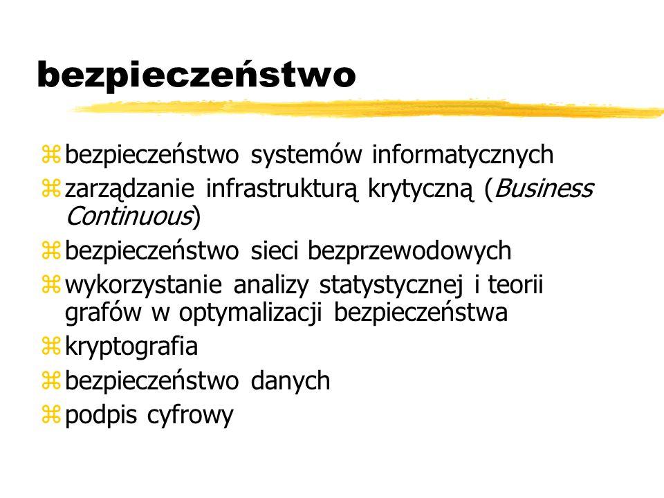 bezpieczeństwo zbezpieczeństwo systemów informatycznych zzarządzanie infrastrukturą krytyczną (Business Continuous) zbezpieczeństwo sieci bezprzewodow