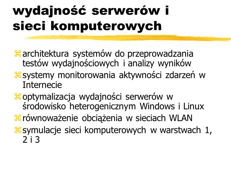 wydajność serwerów i sieci komputerowych zarchitektura systemów do przeprowadzania testów wydajnościowych i analizy wyników zsystemy monitorowania akt