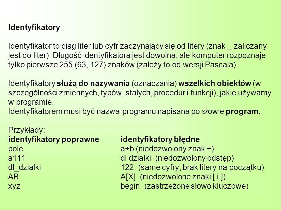 Identyfikatory Identyfikator to ciąg liter lub cyfr zaczynający się od litery (znak _ zaliczany jest do liter). Długość identyfikatora jest dowolna, a