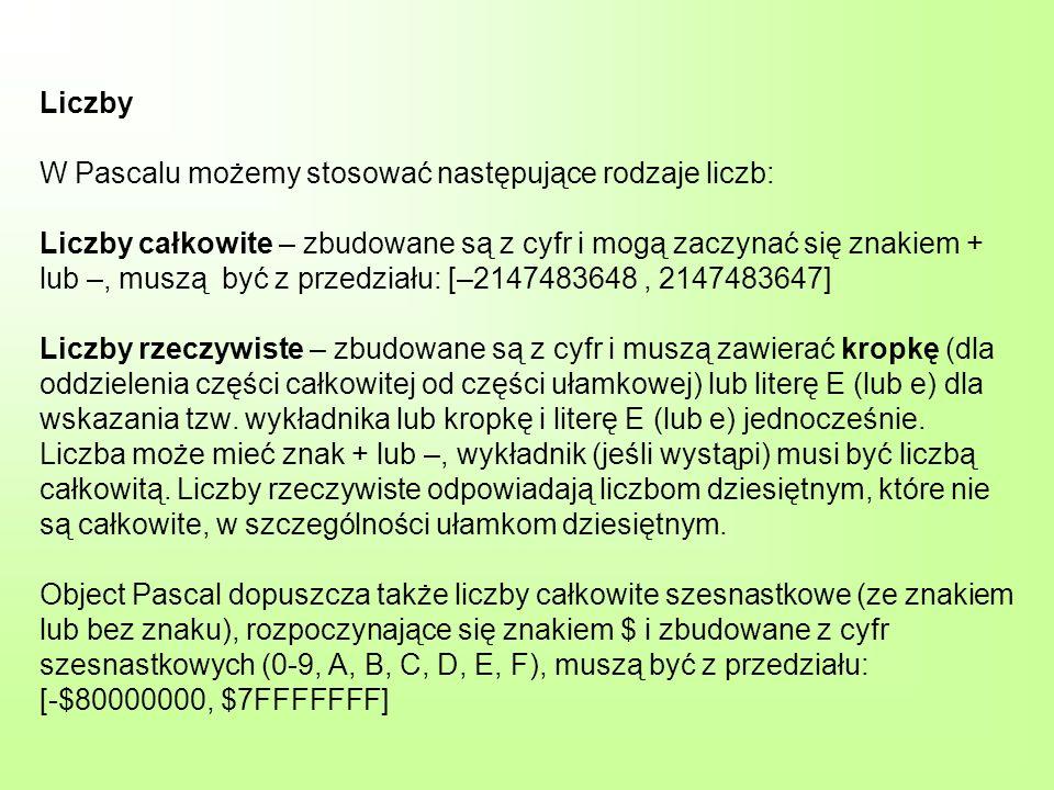 Liczby W Pascalu możemy stosować następujące rodzaje liczb: Liczby całkowite – zbudowane są z cyfr i mogą zaczynać się znakiem + lub –, muszą być z pr