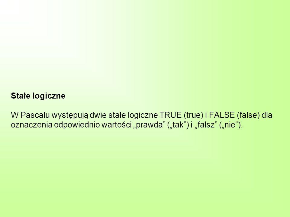 Stałe logiczne W Pascalu występują dwie stałe logiczne TRUE (true) i FALSE (false) dla oznaczenia odpowiednio wartości prawda (tak) i fałsz (nie).