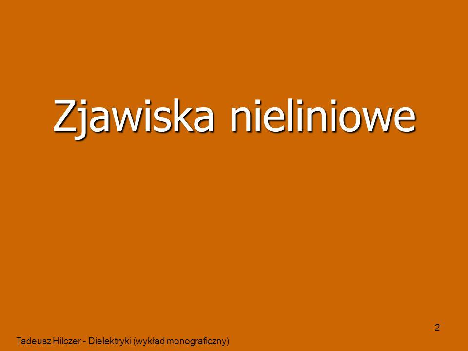 Tadeusz Hilczer - Dielektryki (wykład monograficzny) 2 Zjawiska nieliniowe