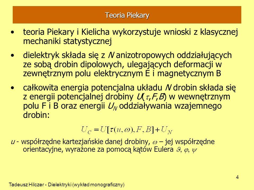 Tadeusz Hilczer - Dielektryki (wykład monograficzny) 4 Teoria Piekary teoria Piekary i Kielicha wykorzystuje wnioski z klasycznej mechaniki statystycz