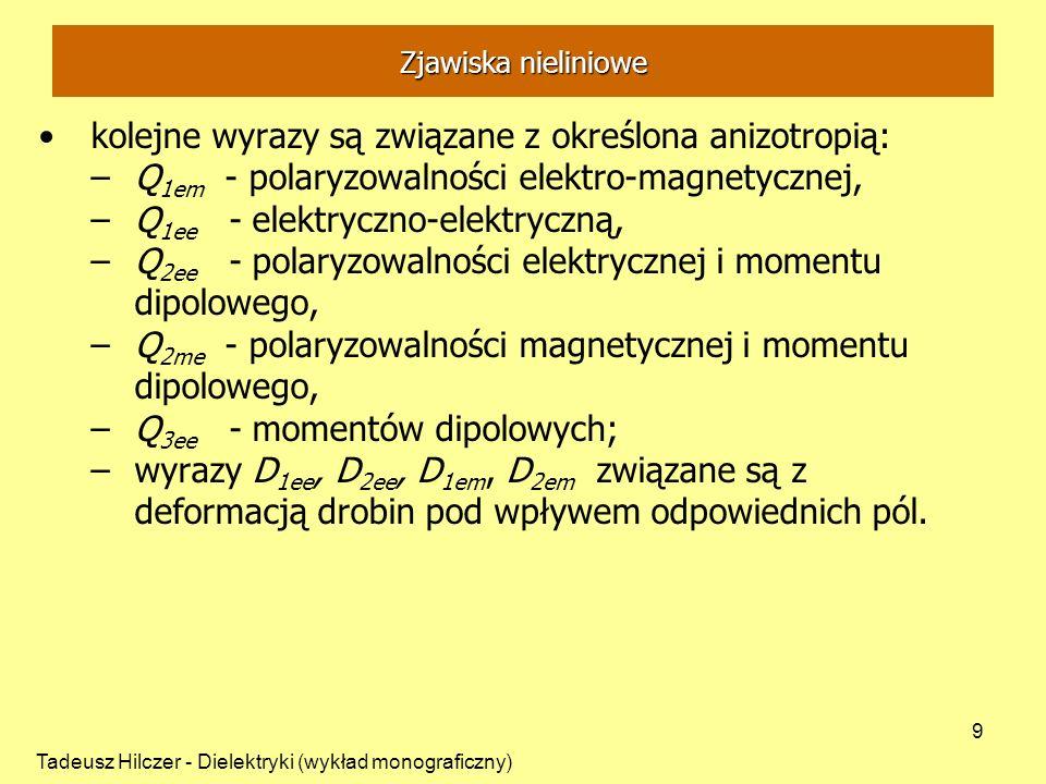 Tadeusz Hilczer - Dielektryki (wykład monograficzny) 9 kolejne wyrazy są związane z określona anizotropią: –Q 1em - polaryzowalności elektro-magnetycz