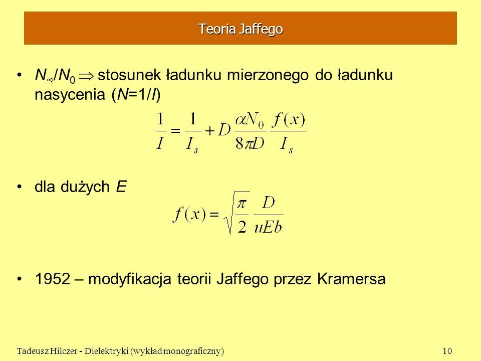 Teoria Jaffego N /N 0 stosunek ładunku mierzonego do ładunku nasycenia (N=1/I) dla dużych E 1952 – modyfikacja teorii Jaffego przez Kramersa Tadeusz H