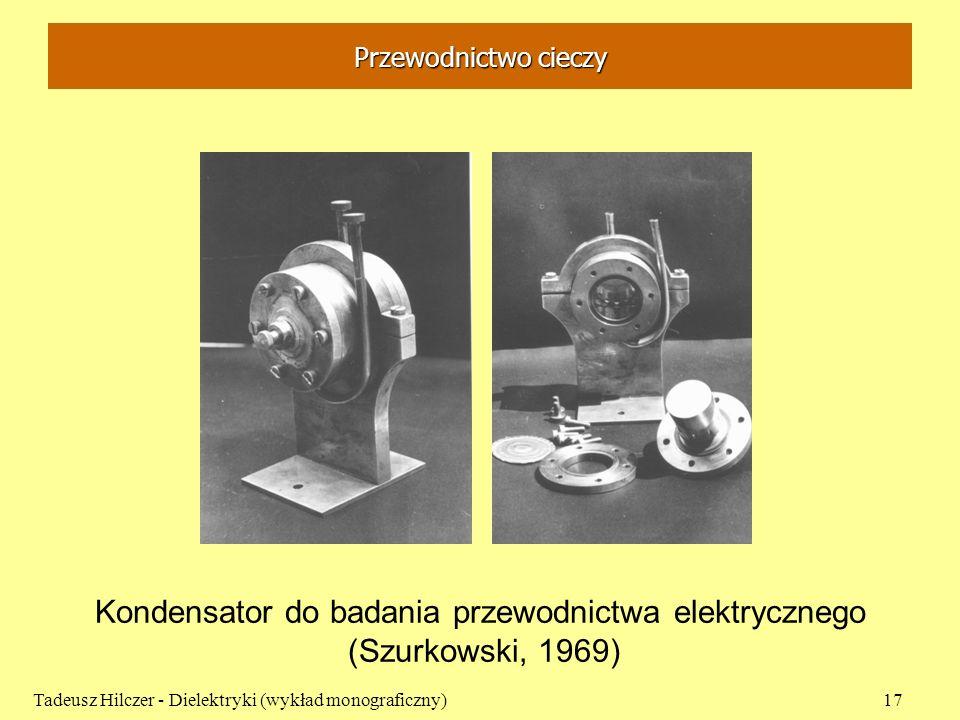 Przewodnictwo cieczy Tadeusz Hilczer - Dielektryki (wykład monograficzny)17 Kondensator do badania przewodnictwa elektrycznego (Szurkowski, 1969)