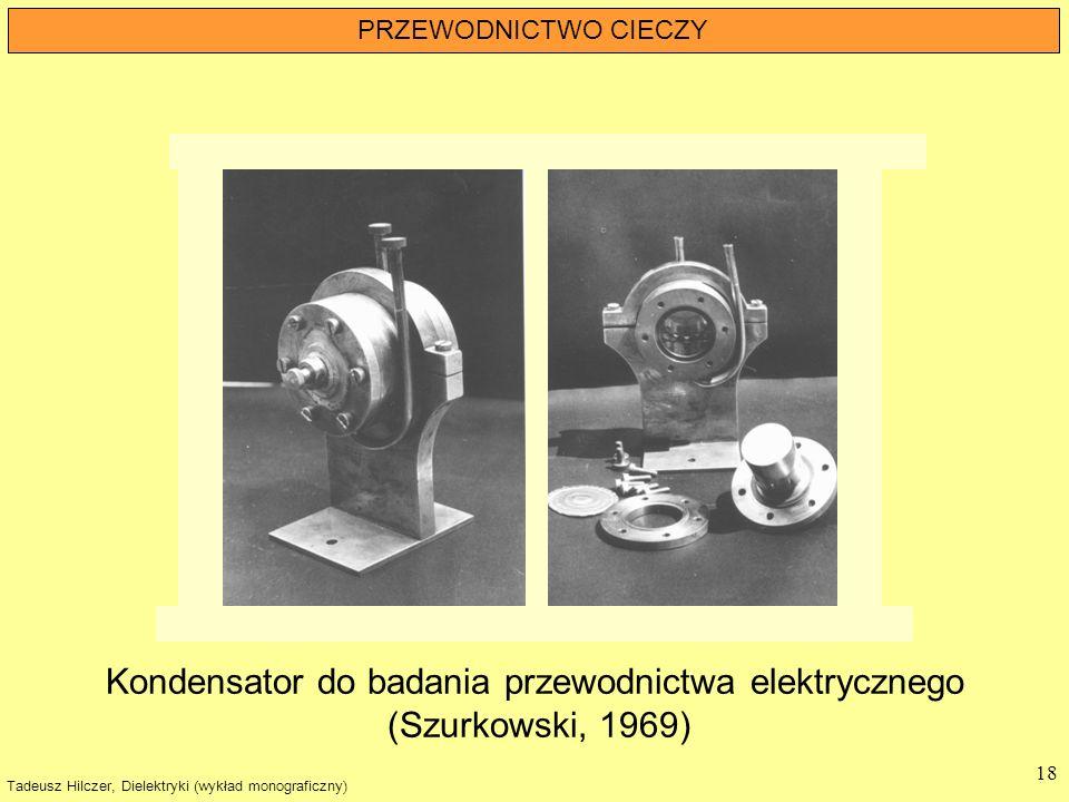 Tadeusz Hilczer, Dielektryki (wykład monograficzny) 18 PRZEWODNICTWO CIECZY Kondensator do badania przewodnictwa elektrycznego (Szurkowski, 1969)