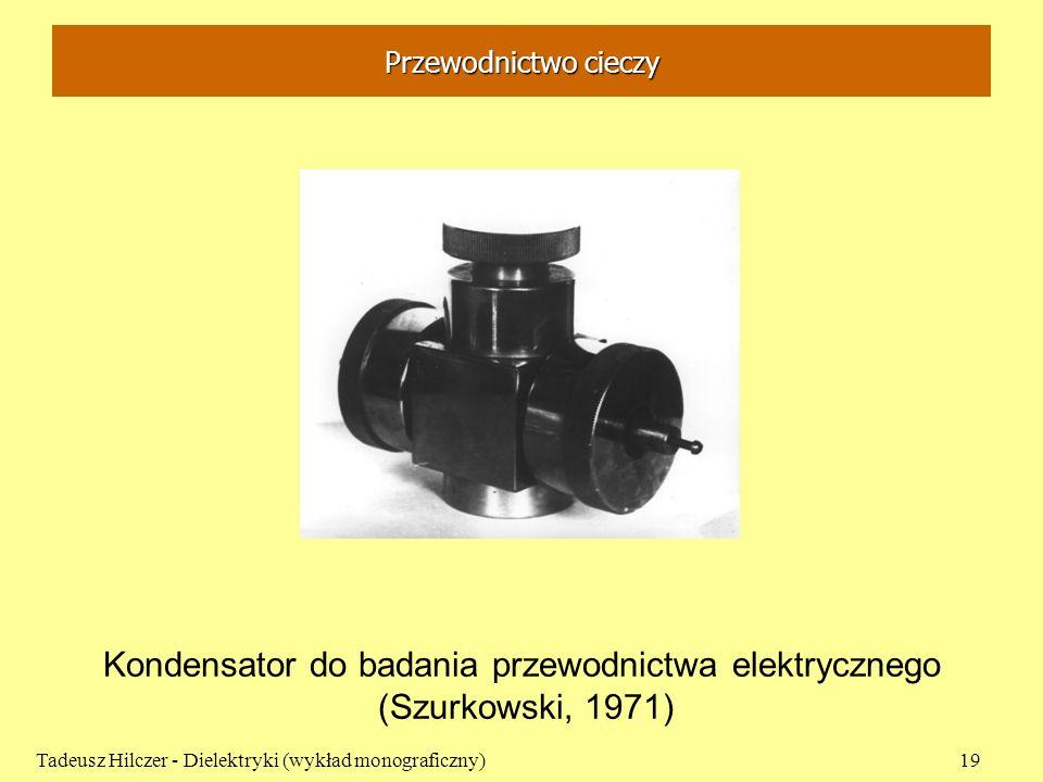 Przewodnictwo cieczy Tadeusz Hilczer - Dielektryki (wykład monograficzny)19 Kondensator do badania przewodnictwa elektrycznego (Szurkowski, 1971)