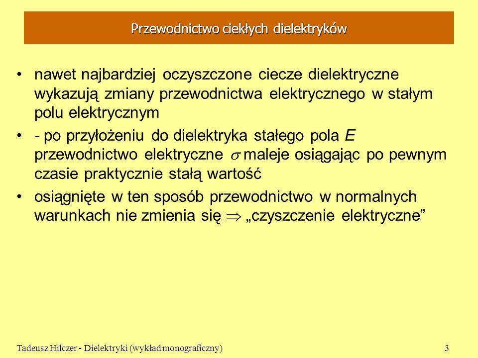 chlorobenzen - benzen Tadeusz Hilczer - Dielektryki (wykład monograficzny)24 Przewodnictwo właściwe w funkcji stężenia (Szurkowski, 1971) 0 0.2 0.4 0.6 0.8 1.0 f 9,1 kV/cm 18,2 kV/cm 27,3 kV/cm 36,4 kV/cm 12 8 4 10 -11 [ -1 cm -1 ]
