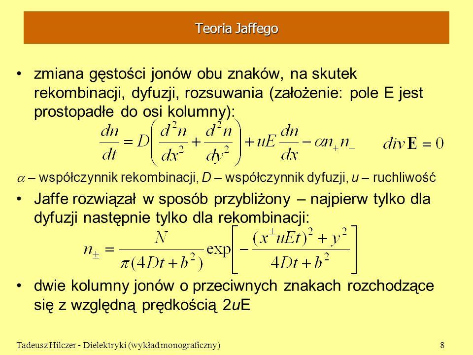 Teoria Jaffego zmiana gęstości jonów obu znaków, na skutek rekombinacji, dyfuzji, rozsuwania (założenie: pole E jest prostopadłe do osi kolumny): – ws