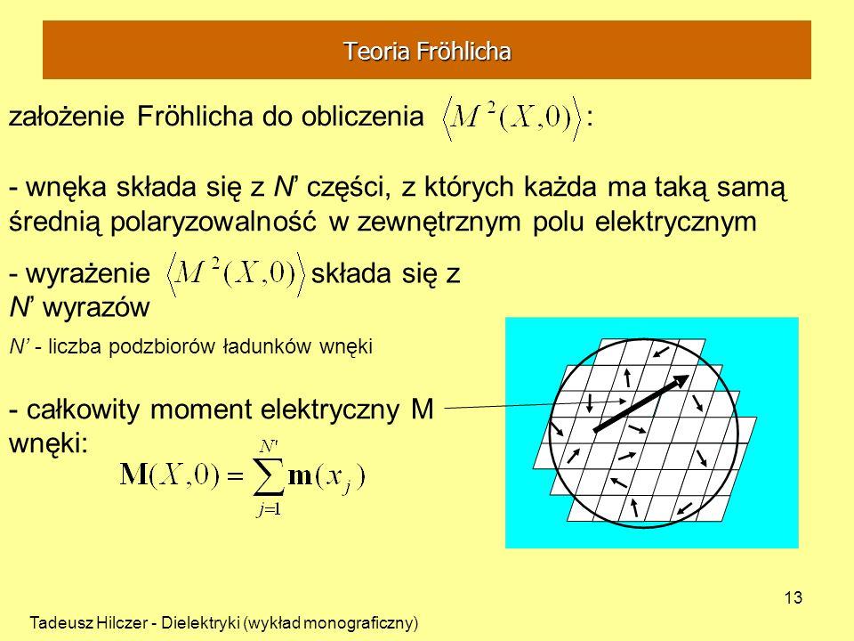 Tadeusz Hilczer - Dielektryki (wykład monograficzny) 13 założenie Fröhlicha do obliczenia : - wnęka składa się z N części, z których każda ma taką sam
