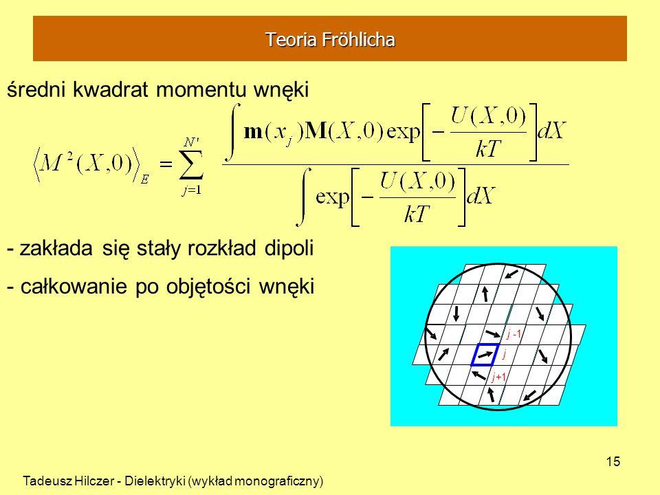Tadeusz Hilczer - Dielektryki (wykład monograficzny) 15 - zakłada się stały rozkład dipoli średni kwadrat momentu wnęki j j-1 j+1 - całkowanie po obję