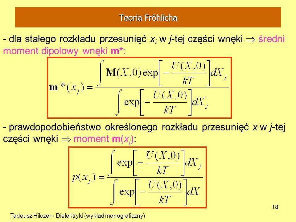 Tadeusz Hilczer - Dielektryki (wykład monograficzny) 18 - dla stałego rozkładu przesunięć x i w j-tej części wnęki średni moment dipolowy wnęki m*: -