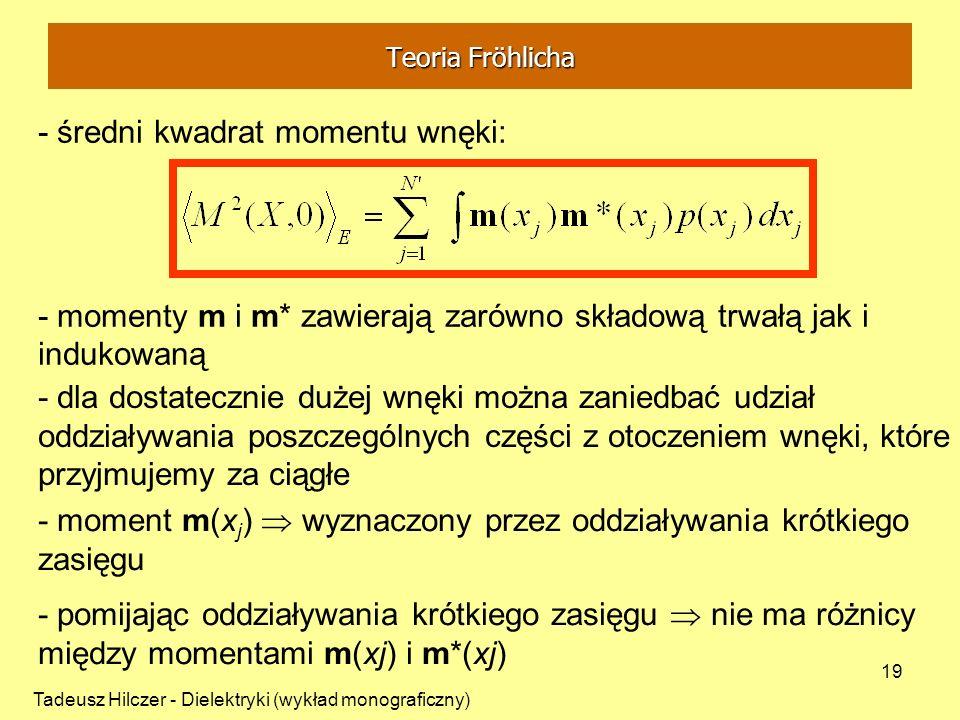 Tadeusz Hilczer - Dielektryki (wykład monograficzny) 19 - średni kwadrat momentu wnęki: - momenty m i m* zawierają zarówno składową trwałą jak i induk