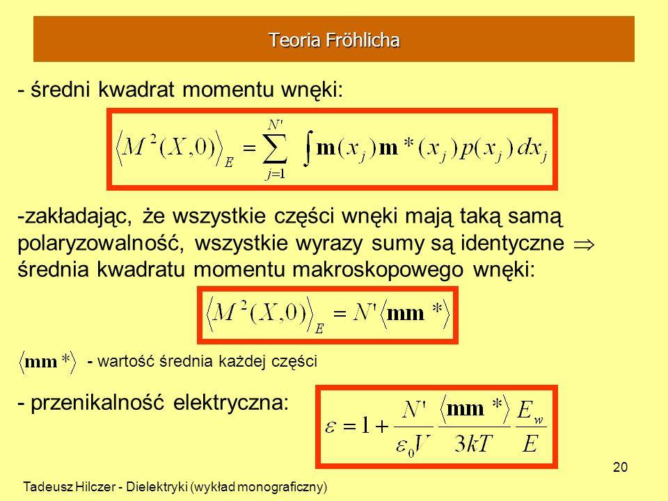 Tadeusz Hilczer - Dielektryki (wykład monograficzny) 20 - średni kwadrat momentu wnęki: -zakładając, że wszystkie części wnęki mają taką samą polaryzo