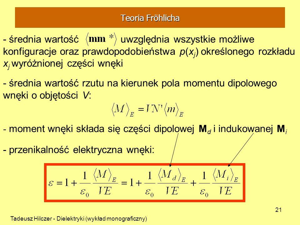 Tadeusz Hilczer - Dielektryki (wykład monograficzny) 21 - średnia wartość rzutu na kierunek pola momentu dipolowego wnęki o objętości V: - średnia war