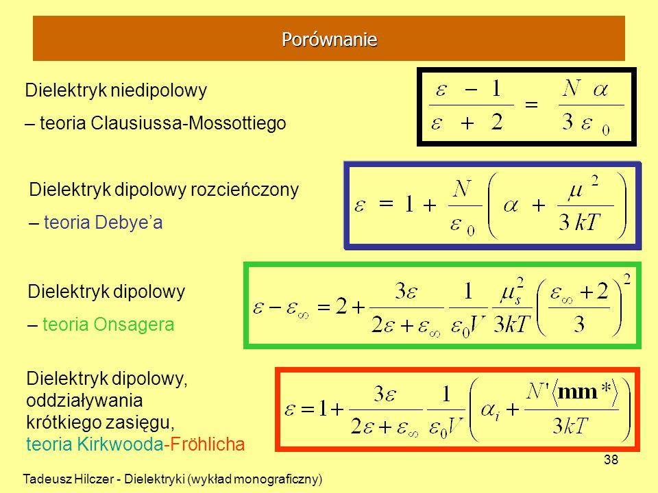 Tadeusz Hilczer - Dielektryki (wykład monograficzny) 38 Dielektryk niedipolowy – teoria Clausiussa-Mossottiego Dielektryk dipolowy rozcieńczony – teor