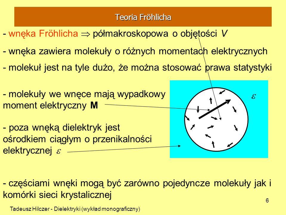 Tadeusz Hilczer - Dielektryki (wykład monograficzny) 6 - wnęka zawiera molekuły o różnych momentach elektrycznych - molekuł jest na tyle dużo, że możn