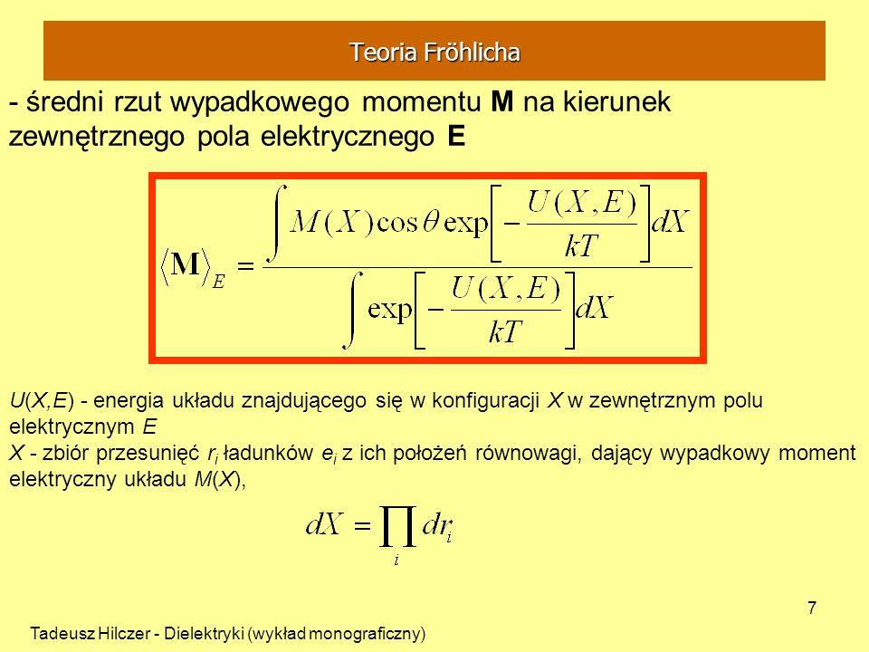 Tadeusz Hilczer - Dielektryki (wykład monograficzny) 7 U(X,E) - energia układu znajdującego się w konfiguracji X w zewnętrznym polu elektrycznym E X -