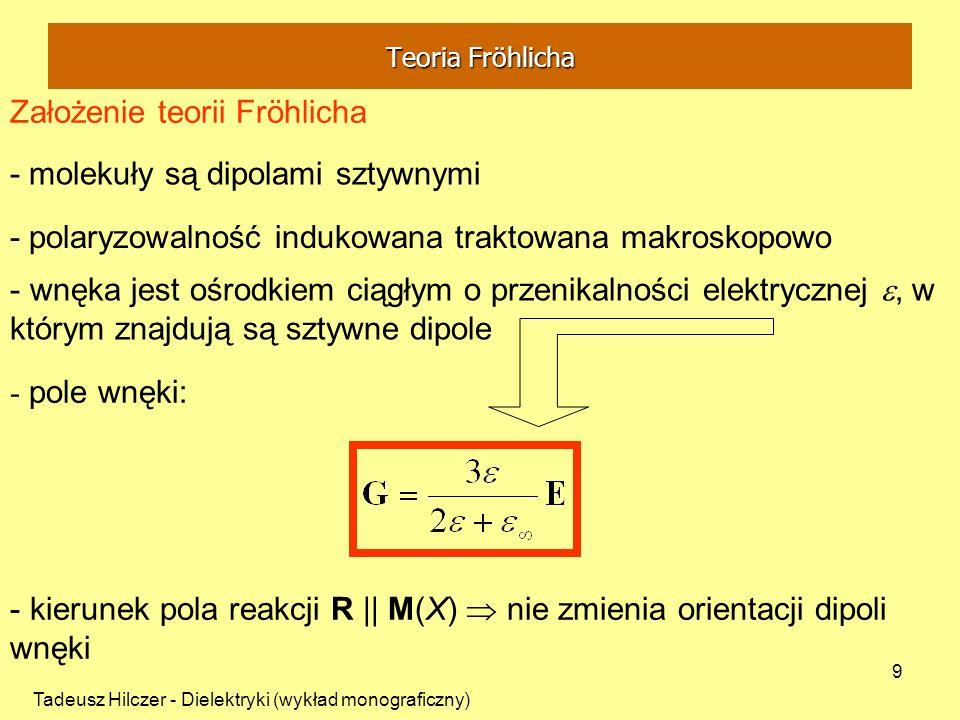 Tadeusz Hilczer - Dielektryki (wykład monograficzny) 9 - molekuły są dipolami sztywnymi Założenie teorii Fröhlicha - polaryzowalność indukowana trakto