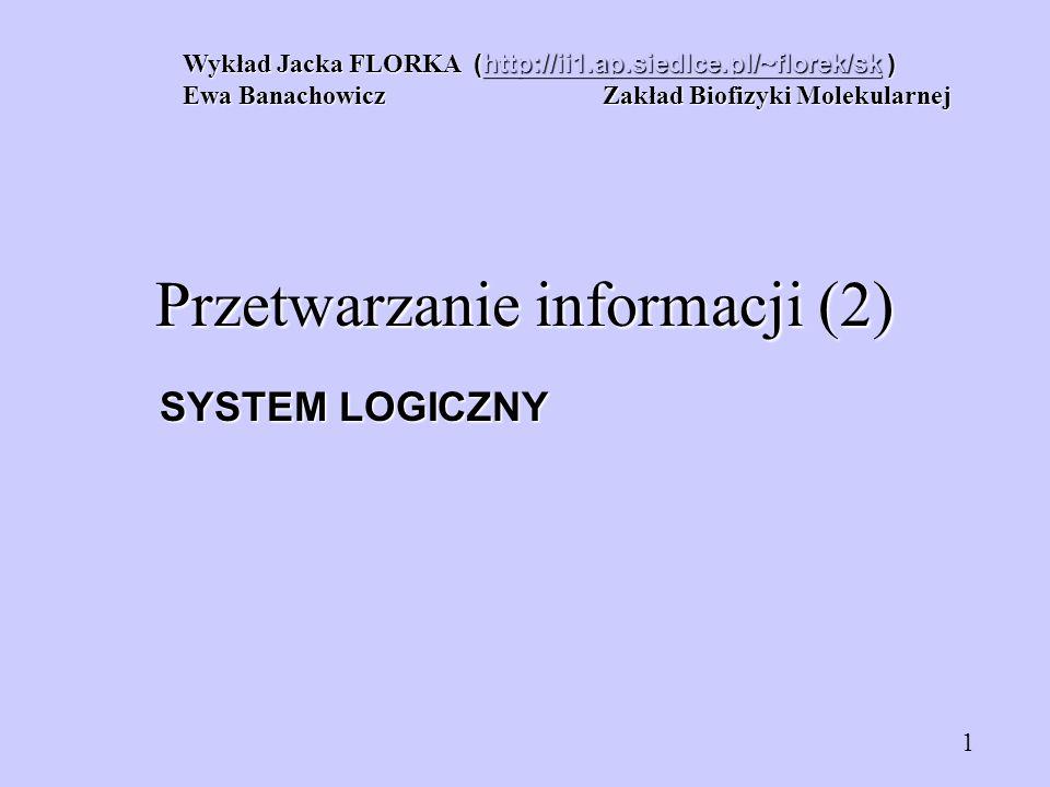 SYSTEM LOGICZNY Wykład Jacka FLORKA (http://ii1.ap.siedlce.pl/~florek/sk ) http://ii1.ap.siedlce.pl/~florek/sk Ewa Banachowicz Zakład Biofizyki Moleku