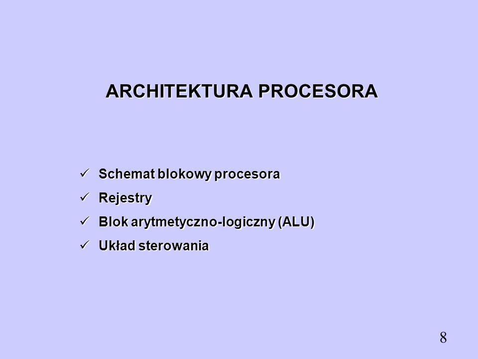 ARCHITEKTURA PROCESORA Schemat blokowy procesora Schemat blokowy procesora Rejestry Rejestry Blok arytmetyczno-logiczny (ALU) Blok arytmetyczno-logicz