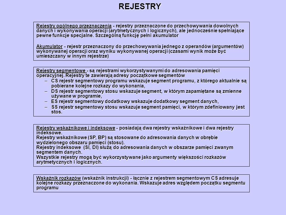 REJESTRY Rejestry ogólnego przeznaczenia - rejestry przeznaczone do przechowywania dowolnych danych i wykonywania operacji (arytmetycznych i logicznyc