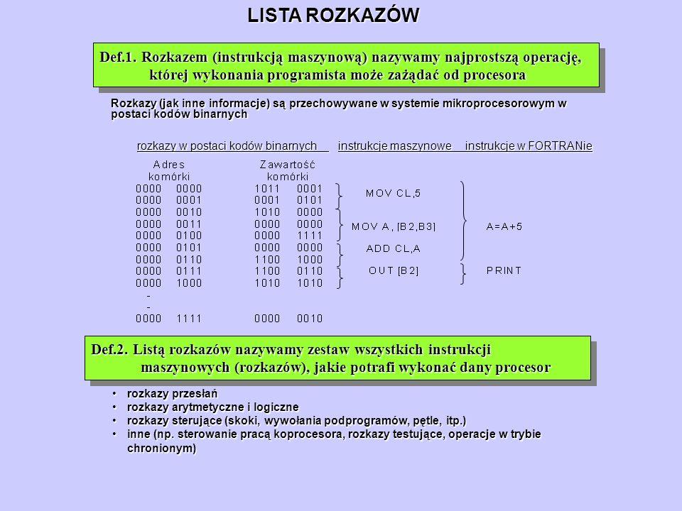 LISTA ROZKAZÓW Def.1. Rozkazem (instrukcją maszynową) nazywamy najprostszą operację, której wykonania programista może zażądać od procesora Def.2. Lis