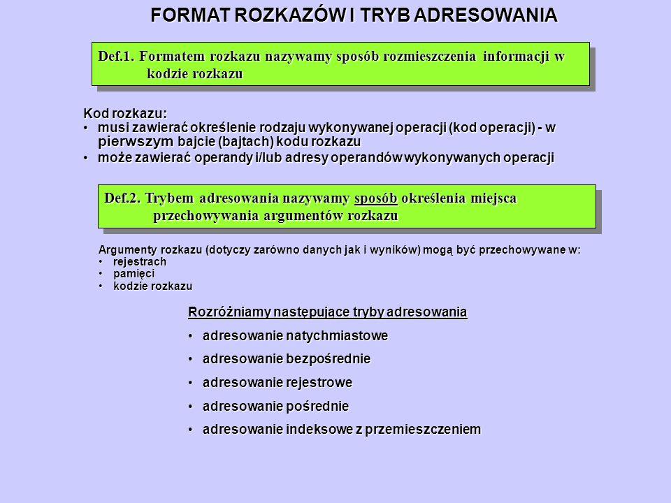 FORMAT ROZKAZÓW I TRYB ADRESOWANIA Def.1. Formatem rozkazu nazywamy sposób rozmieszczenia informacji w kodzie rozkazu Kod rozkazu: musi zawierać okreś