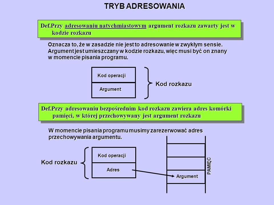 TRYB ADRESOWANIA Def.Przy adresowaniu natychmiastowym argument rozkazu zawarty jest w kodzie rozkazu Oznacza to, że w zasadzie nie jest to adresowanie