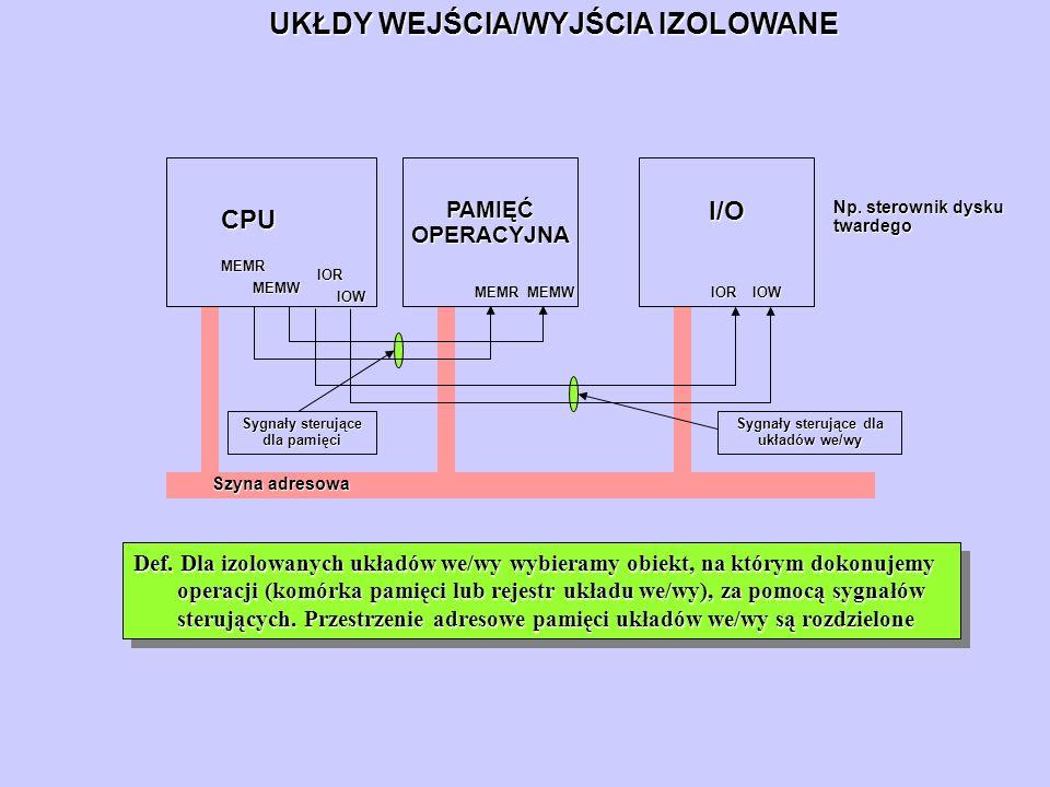 UKŁDY WEJŚCIA/WYJŚCIA IZOLOWANE Szyna adresowa PAMIĘĆ OPERACYJNA CPU I/O MEMR MEMW MEMW MEMR MEMW IOR IOW Def. Dla izolowanych układów we/wy wybieramy