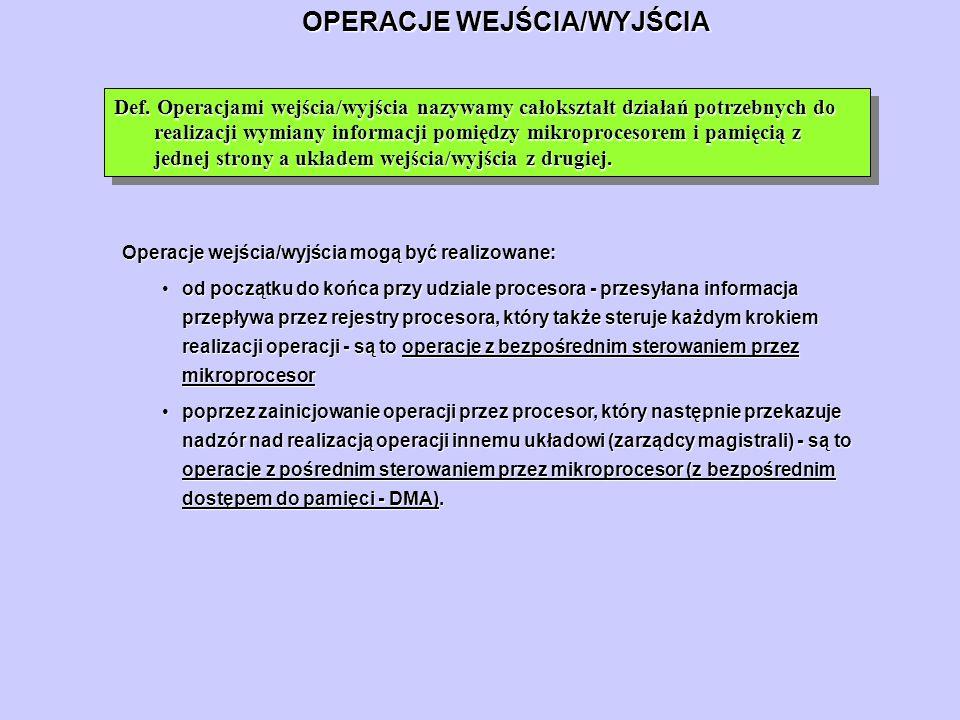 OPERACJE WEJŚCIA/WYJŚCIA Def. Operacjami wejścia/wyjścia nazywamy całokształt działań potrzebnych do realizacji wymiany informacji pomiędzy mikroproce