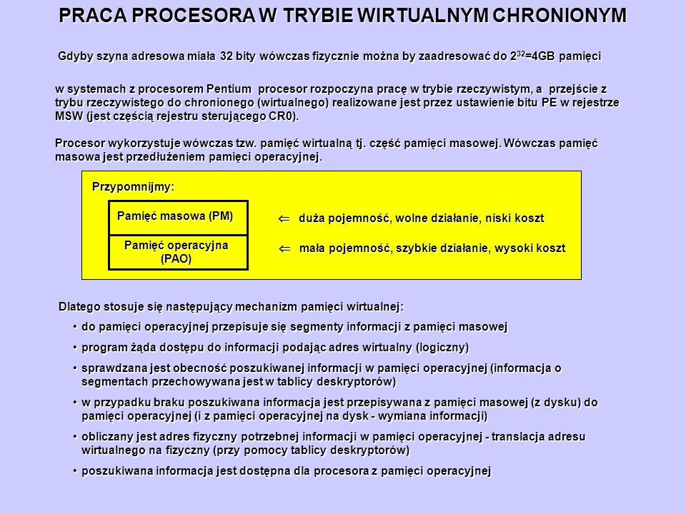 PRACA PROCESORA W TRYBIE WIRTUALNYM CHRONIONYM Gdyby szyna adresowa miała 32 bity wówczas fizycznie można by zaadresować do 2 32 =4GB pamięci w system